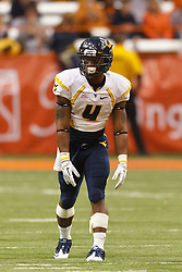 Oct 21, 2011; Syracuse NY, USA;  West Virginia Mountaineers wide receiver Devon Brown (4) lines up for a play against the Syracuse Orange during the fourth quarter at the Carrier Dome.  Syracuse defeated West Virginia 49-23. Mandatory Credit: Jason O. Watson-US PRESSWIRE