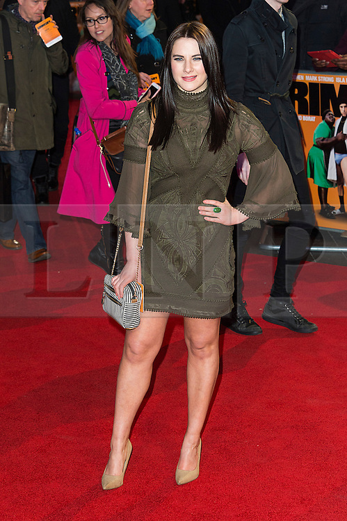 © Licensed to London News Pictures. 22/02/2016. KAT SCHOOB attends the GRIMSBY Film premiere. The film centres around a black-ops spy whose brother is a football hooligan.  London, UK. Photo credit: Ray Tang/LNP