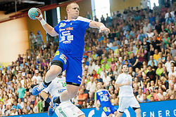 Matej Gaber #22 of Slovenia during handball match between National teams of Slovenia and Hungary in play off of 2015 Men's World Championship Qualifications on June 15, 2014 in Rdeca dvorana, Velenje, Slovenia. Photo by Urban Urbanc / Sportida