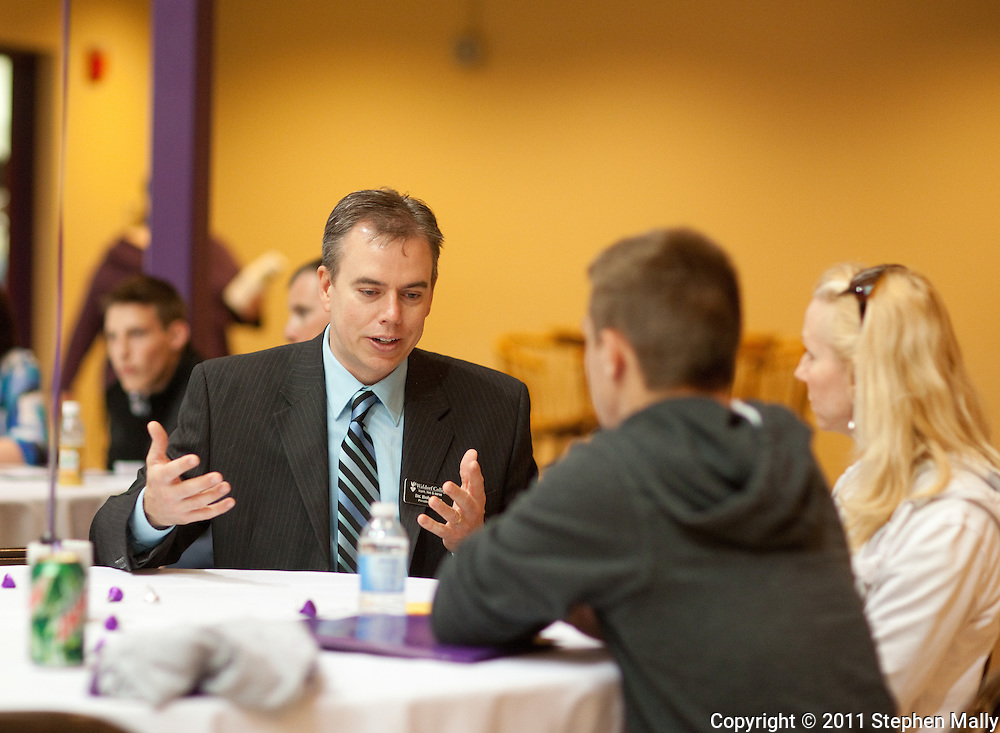 Waldorf College President-elect Bob Alsop talks to a prospective student during an open house at Waldorf College in Forest City, Iowa on Saturday, May 14, 2011.