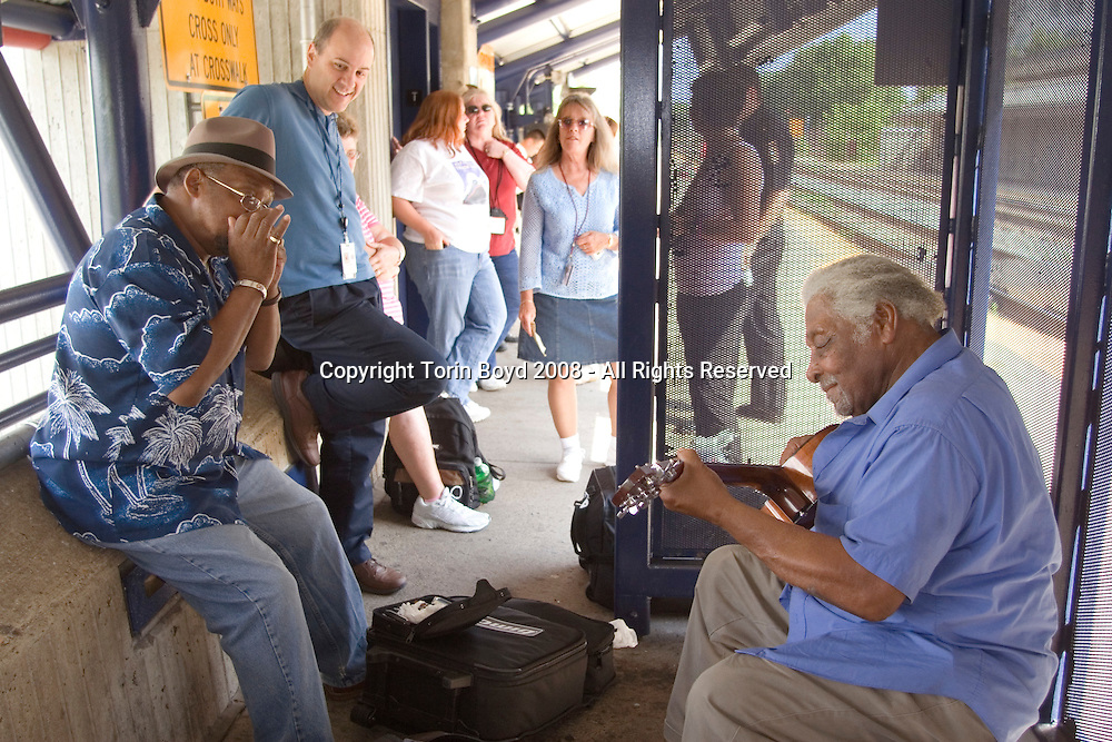 Rockville, MD: waiting for train to arrive: train journey from Washington DC (suburbs) to Washington State with Piedmont Style blues artisrts Warner Williams and Jay Summerour.