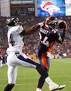 DENVER - OCTOBER 9:  Safety Champ Bailey #24 of the Denver Broncos intercepts an end zone pass intended for wide receiver Clarence Moore #94 of the Baltimore Ravens at INVESCO Field at Mile High on October 9, 2006 in Denver, Colorado. The Broncos defeated the Ravens 13-3. ©Paul Anthony Spinelli *** Local Caption *** Champ Bailey;Clarence Moore