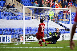 BIRKENHEAD, ENGLAND - Wednesday, December 6, 2017: Liverpool's Curtis Jones scores the first goal during the UEFA Youth League Group E match between Liverpool FC and FC Spartak Moscow at Prenton Park. (Pic by David Rawcliffe/Propaganda)