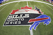 The Bills Toronto Series logo is painted on the turf prior to the Buffalo Bills NFL football game against the New York Jets, December 3, 2009 in Toronto, Canada. The Jets won the game 19-13. ©Paul Anthony Spinelli