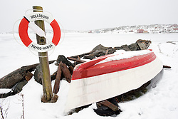Traditional fishing village Mollosund during winter after snow on Bohuslan coast in Sweden