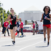 23 March 2018: Callista Fletcher competes in the 200 meter dash open event Friday afternoon at the 40th Annual Aztec Invitational.<br /> More game action at sdsuaztecphotos.com