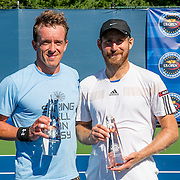 August 22, 2016, New Haven, Connecticut: <br /> Jose Statham and Nicolas Meister pose for a photograph with the trophies following the US Open National Playoffs men's singles finals match on Day 4 of the 2016 Connecticut Open at the Yale University Tennis Center on Monday August  22, 2016 in New Haven, Connecticut. <br /> (Photo by Billie Weiss/Connecticut Open)