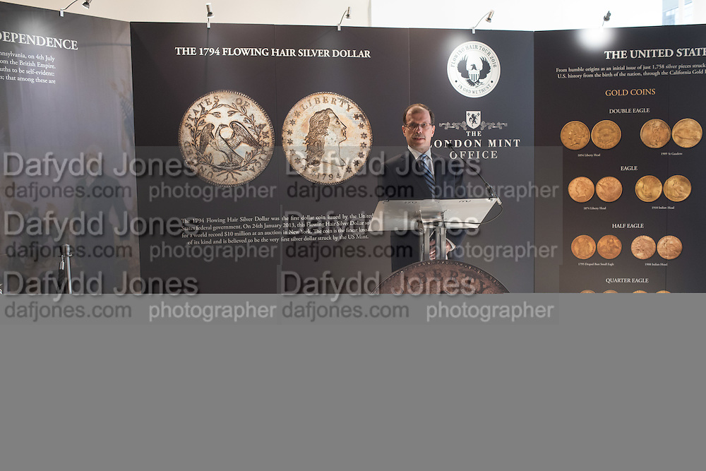 Bruce Morelan, Launch of the WORLD'S MOST EXPENSIVE COIN ARRIVing  IN LONDON - FLOWING HAIR SILVER DOLLAR, Amon Carter' Flowing Hair Silver Dollar, the first dollar to be minted in the U.S., ,Royal Opera Arcade,  Pall Mall, 17 March 2016