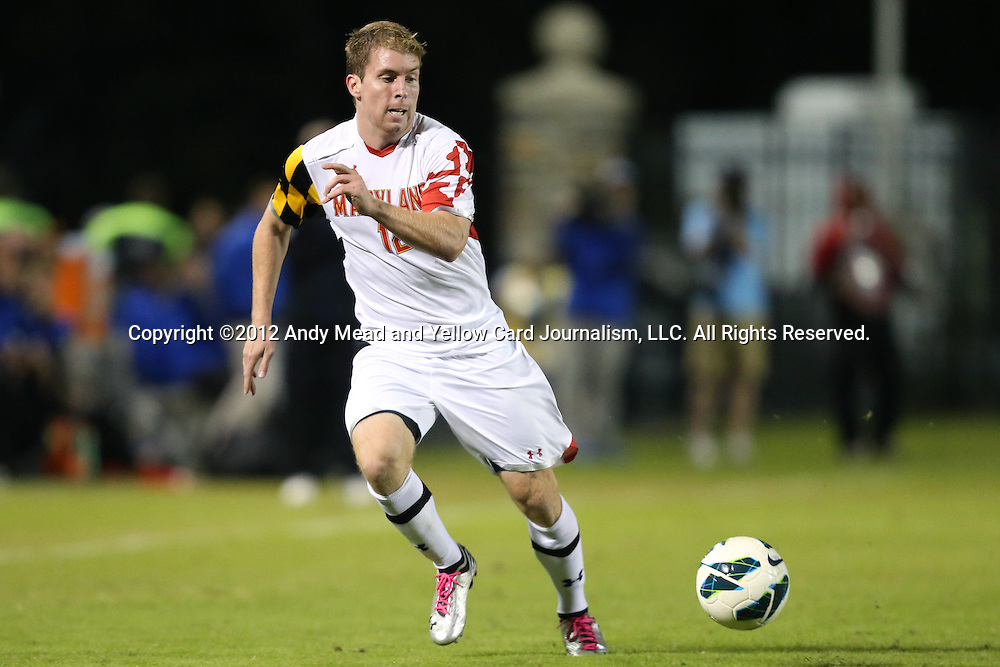 12 October 2012: Maryland's Jereme Raley. The University of Maryland Terrapins defeated the Duke University Blue Devils 2-1 at Koskinen Stadium in Durham, North Carolina in a 2012 NCAA Division I Men's Soccer game.