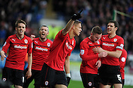 Cardiff city's Rudy Gestede © celebrates with his teammates after he scores the opening goal. NPower championship, Cardiff city v Millwall at the Cardiff city stadium in Cardiff, South Wales on Saturday 29th Dec 2012. pic by Andrew Orchard, Andrew Orchard sports photography,