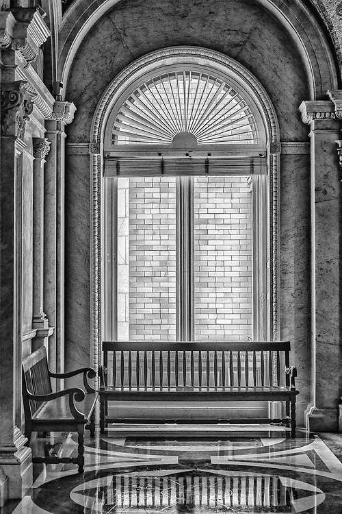 Benches inside of the U.S. Capitol Building in Washington, D.C.