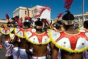 Costumed people celebrating Carnival. Mindelo. Cabo Verde. Africa.