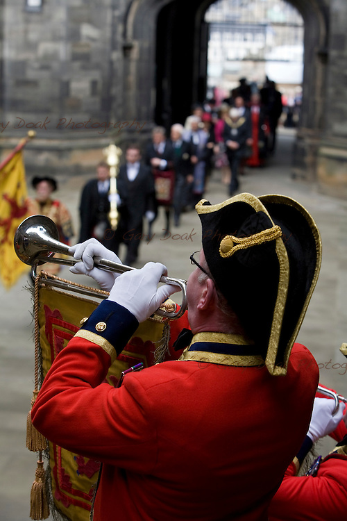 A bugler heralds the opening procession at the start of The General Assembly of The Church of Scotland 2010.