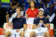 Andy Murray of Great Britain and Jamie Murray of Great Britain during change of ends during the 2016 Davis Cup Semi Final between Great Britain and Argentina at the Emirates Arena, Glasgow, United Kingdom on 17 September 2016. Photo by Craig Doyle.