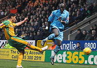 Photo: Ashley Pickering.<br />Norwich City v Coventry City. Coca Cola Championship. 24/02/2007.<br />Coventry's new signing Khallou Fadiga (R) and Youssef Safri of Norwich