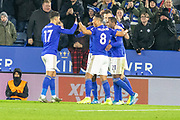 GOAL - Ricardo Pereira (21) is congratulated after scoring Leicester's second during the Premier League match between Leicester City and West Ham United at the King Power Stadium, Leicester, England on 22 January 2020.