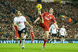 LIVERPOOL, ENGLAND - Saturday, November 22, 2008: Liverpool's Robbie Keane in action against Fulham during the Premiership match at Anfield. (Photo by David Rawcliffe/Propaganda)