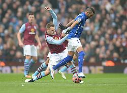 Aston Villa's Andreas Weimann tackles Leicester City's Riyad Mahrez - Photo mandatory by-line: Alex James/JMP - Mobile: 07966 386802 - 15/02/2015 - SPORT - Football - Birmingham - Villa Park - Aston Villa v Leicester City - FA Cup - Fifth Round
