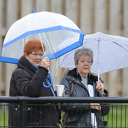 TELFORD COPYRIGHT MIKE SHERIDAN 8/9/2018 - Supporters take precautions against the northerly weather during the Vanarama Conference North fixture between Darlington FC and AFC Telford United.