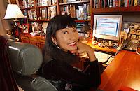 SAN FRANCISCO, CA -OCTOBER 2, 2003 : Author Amy Tan at her home on October 2, 2003 in San Francisco, California.  Photo by David Paul Morris