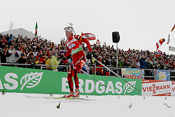 11.12.2011, Biathlonzentrum, Hochfilzen, AUT, E.ON IBU Weltcup, 2. Biathlon, Hochfilzen, Staffel Herren, im Bild Einfahrt ins Ziel durch den Schlusslaufer der Norweger Boe Tarjei (Team NOR) // during Team Relay E.ON IBU World Cup 2th Biathlon, Hochfilzen, Austria on 2011/12/11. EXPA Pictures © 2011. EXPA Pictures © 2011, PhotoCredit: EXPA/ nph/ Straubmeier..***** ATTENTION - OUT OF GER, CRO *****