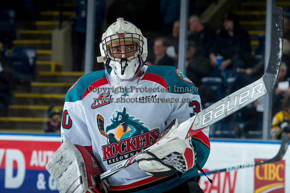 KELOWNA, CANADA - NOVEMBER 11: Ethan Hunt #30 of the Kelowna Rockets warms up against the Red Deer Rebels on November 11, 2017 at Prospera Place in Kelowna, British Columbia, Canada.  (Photo by Marissa Baecker/Shoot the Breeze)  *** Local Caption ***
