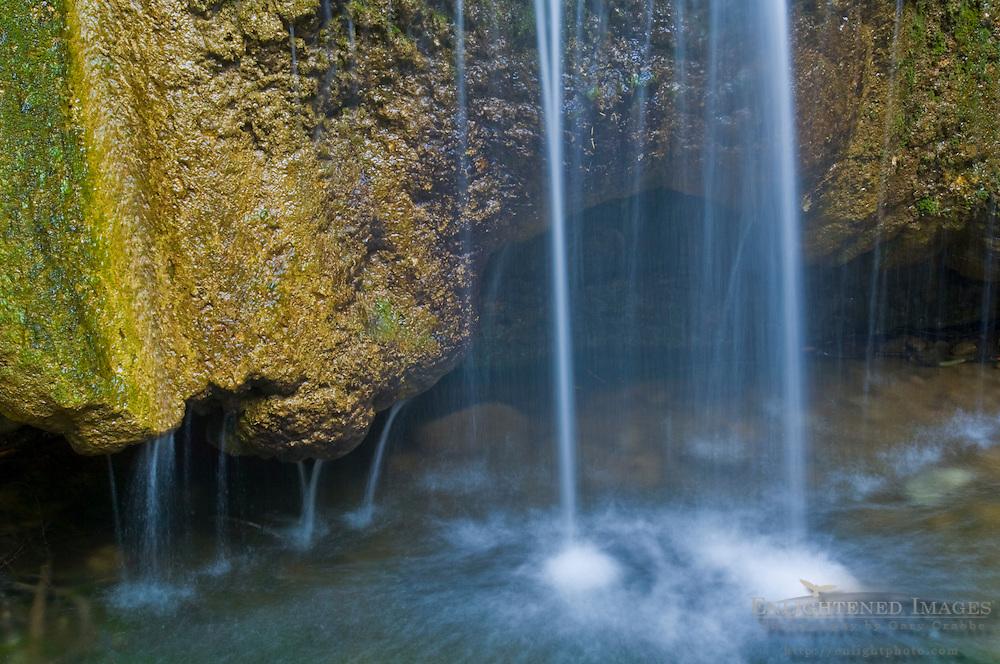 Detail at the base of Nojoqui Falls, waterfall near Solvang, Santa Barbara County, California