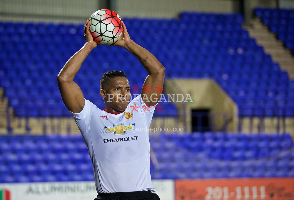 BIRKENHEAD, ENGLAND - Friday, March 11, 2016: Manchester United's Antonio Valencia takes a throw-in during the Under-21 FA Premier League match against Liverpool at Prenton Park. (Pic by David Rawcliffe/Propaganda)