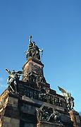Deutschland, Germany,Hessen, Rheingau.Hessen, Rheingau.Germania auf dem Niederwald-Denkmal bei Rüdesheim....