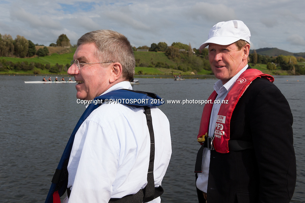 IOC president Thomas Bach and Mike Stanley (NZ IOC) on a barge at the Rowing NZ Media Day, Lake Karapiro, Cambridge, New Zealand, Wednesday 6 May 2015. Photo: Stephen Barker/Photosport.co.nz