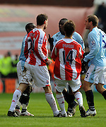 Rory Delap confronts Manchester City's Micah Richards .Stoke City V Manchester City 31/01/09.The Premier League