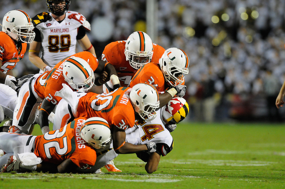 2011 Miami Hurricanes Football @ Maryland<br /> <br /> Ramon Buchanan, Eduardo Clements, Lee Chambers, Alonzo Highsmith, Jr., Gionni Paul