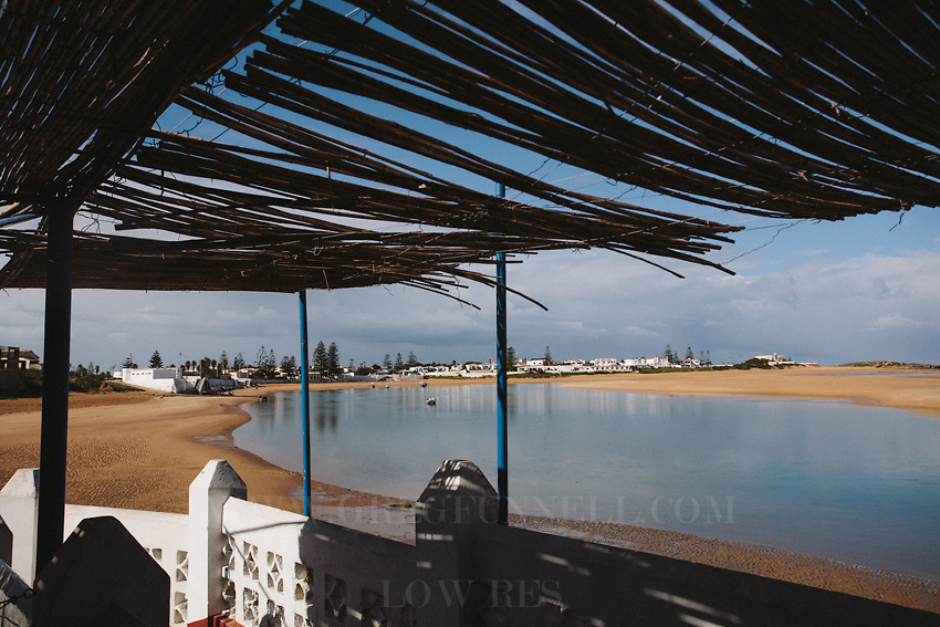 The lagoon and beaches in Oualidia, Morocco, as viewed from the 'Surfland' base.