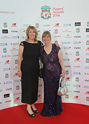 LIVERPOOL, ENGLAND - Thursday, May 12, 2016: Hillsborough campaigners Sue Roberts and Margaret Aspinall arrives on the red carpet for the Liverpool FC Players' Awards Dinner 2016 at the Liverpool Arena. (Pic by David Rawcliffe/Propaganda)