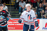 KELOWNA, CANADA - SEPTEMBER 24: Nolan Kneen #27 of the Kamloops Blazers stands on the ice against the Kelowna Rockets on September 24, 2016 at Prospera Place in Kelowna, British Columbia, Canada.  (Photo by Marissa Baecker/Shoot the Breeze)  *** Local Caption *** Nolan Kneen;