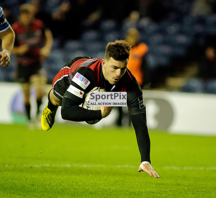 27/11/2015, Murrayfield, Scotland, Matt Scott scores a try during the Edinburgh Rugby v Dragons Guinness PRO12 game, ......(c) COLIN LUNN | SportPix.org.uk