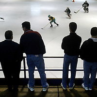 (SPORTS) Brick Twp 4/26/2002  Parents watch the Brick Hockey tryouts at the Ocean Ice Palace in Brick Twp.  This is to illustrate story of good sports kids and violent sport parents.     Michael J. Treola Staff Photographer
