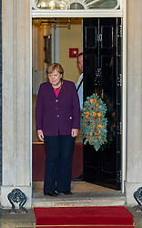© Licensed to London News Pictures. 03/12/2019. London, UK. German Chancellor Angela Merkel arrives in Downing Street as NATO Leaders' gather for a reception hosted by United Kingdom Prime Minister Boris Johnson.<br /> Allied leaders are in London for a NATO summit. The summit also marks NATO's 70th anniversary.<br /> Photo credit: Peter Manning/LNP <br /> <br /> <br /> .