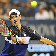 KEI NISHIKORI of Japan plays against James Duckworth of Australia at Day 2 of the Citi Open at the Rock Creek Tennis Center in Washington, D.C.