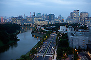 Tokyo skyline during the early evening hours - on the left side the Imperial Castle Garden. Tokyo has 13.01 million inhabitans, is the Japanese capital and the largest city in Japan. Tokyo, Japan, 19.10 2010.