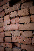 Bricks stacked in Leon, Mexico.