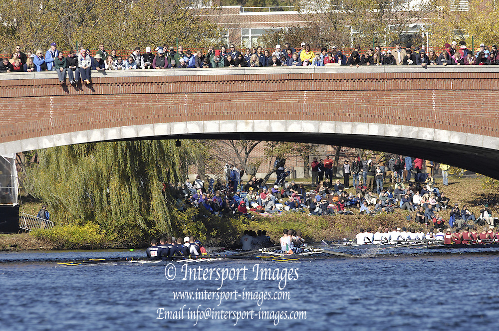 Boston, Massachusetts,  General views GV's. looking down river from Boston side bank as crews pass under the  Eliot Bridge  as they compete in the the Forty second Head of the Charles, 21/10/2006.  Photo  Peter Spurrier/Intersport Images...[Mandatory Credit, Peter Spurier/ Intersport Images] Rowing Course; Charles River. Boston. USA