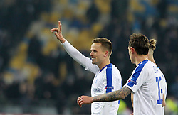 February 21, 2019 - Kiev, Ukraine - Tomasz Kedziora greets fans after winning his team over Olympiacos FC during the UEFA Europa League round of 32 second leg football match between Olympiacos FC and FC Dynamo Kyiv at the Olimpiyskiy Stadium in Kiev on February 21, 2019. (Credit Image: © Str/NurPhoto via ZUMA Press)