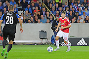 Matteo Darmian of Manchester United on the ball during the Champions League Qualifying Play-Off Round match between Club Brugge and Manchester United at the Jan Breydel Stadion, Brugge, Belguim on 26 August 2015. Photo by Phil Duncan.