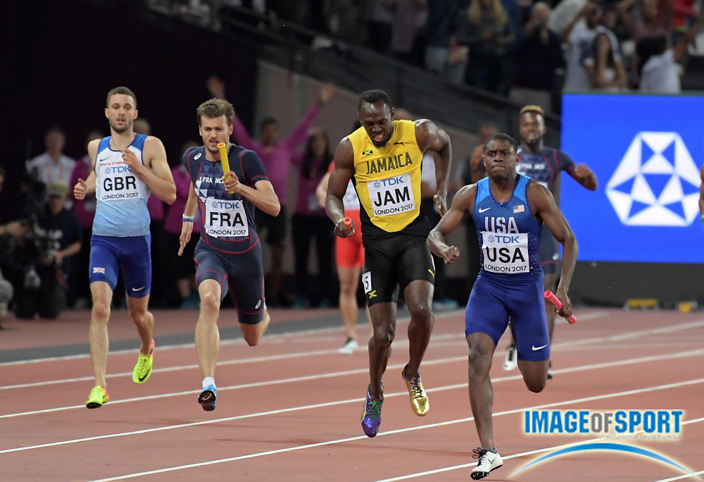 Aug 12, 2017; London, United Kingdom; Usain Bolt (JAM) pulls with an injury during 4 x 100m relay in his final race of his career at the IAAF World Championships in Athletics at London Stadium at Queen Elizabeth Park.