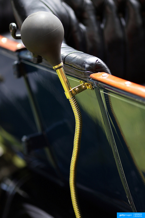 The horn on a 1917 Mamon 34 at the Greenwich Concours d'Elegance Festival of Speed and Style featuring great classic vintage cars. Roger Sherman Baldwin Park, Greenwich, Connecticut, USA.  2nd June 2012. Photo Tim Clayton