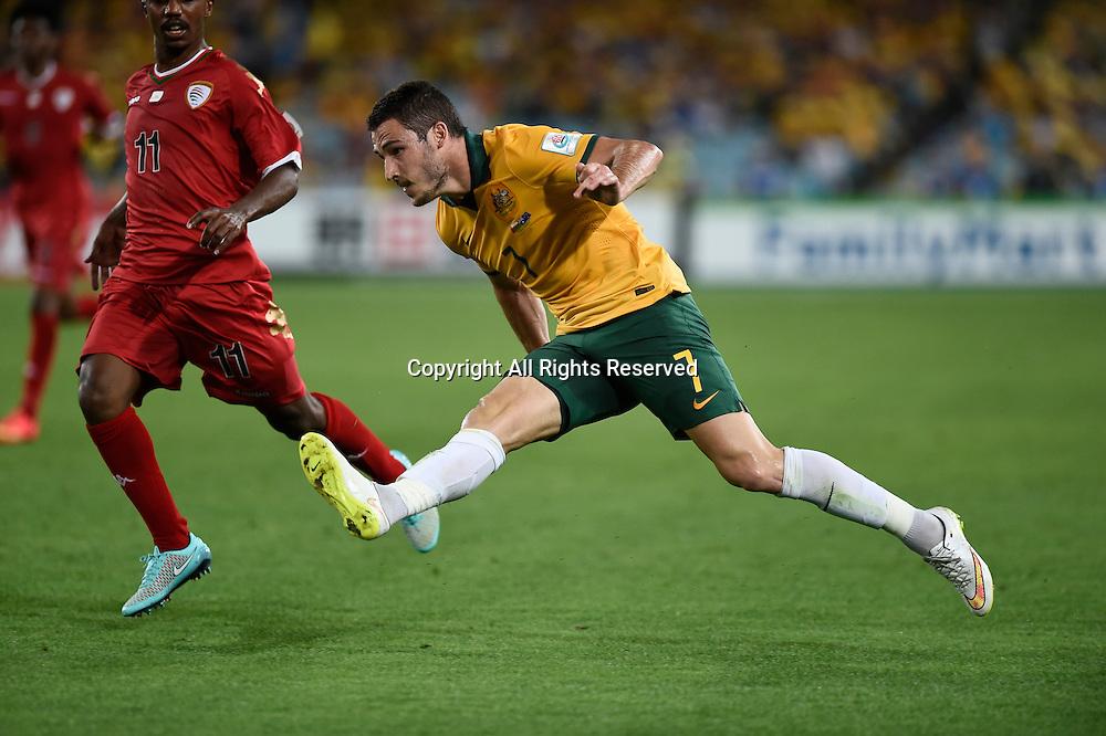 13.01.2015.  Sydney, Australia. AFC Asian Cup Group A. Australia versus Oman. Australian forward Mathew Leckie puts in the cross. Australia won the game 4-0.