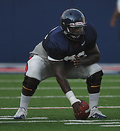 Ole Miss center A.J. Hawkins (76) looks to snap during a team scrimmage at Vaught-Hemingway Stadium in Oxford, Miss. on Saturday, August 20, 2011.