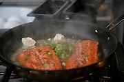 Cooking salmon, Talon Lodge, Sitka, Alaska