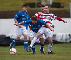 Cowdenbeath's Mark Ramsay and Hamilton's Darian MacKinnon..half time : Cowdenbeath v Hamilton, 9/3/2013..©Michael Schofield..
